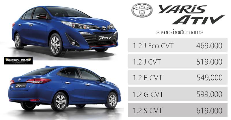 ราคาอย่างเป็นทางการ Toyota Yaris Ativ 469 000 619 000