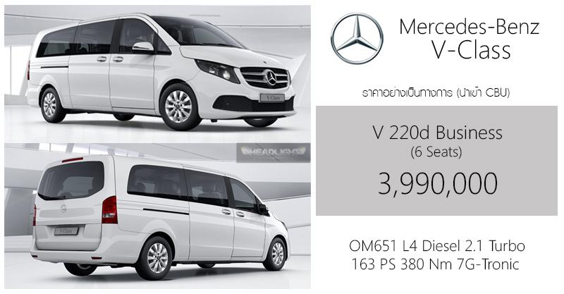 ราคาอย่างเป็นทางการ Mercedes-Benz V 220d Business (6 ที่นั่ง